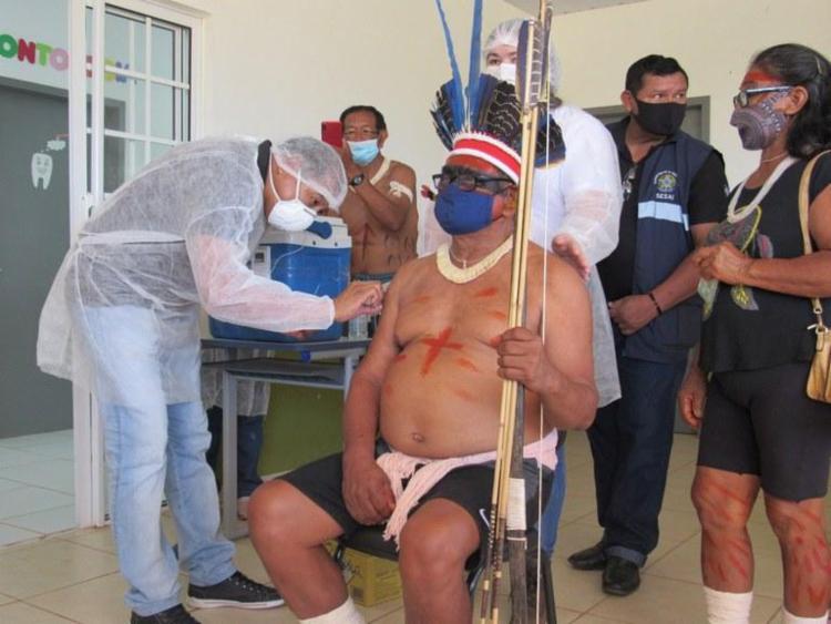 Primeira dose da vacina foi aplicada em 82% dos indígenas | Foto: Divulgação | SESAI-SUS - Foto: Divulgação | SESAI-SUS