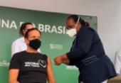 Doria toma a primeira dose da vacina CoronaVac contra a Covid-19, em São Paulo | Foto: Reprodução I Twitter