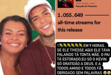 Mãe de MC Kevin comemora 1 milhão de streams em álbum póstumo do funkeiro | Reprodução | Instagram