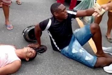 Suspeitos de assalto são espancados por moradores após acidente na Liberdade | Reprodução | Redes Sociais