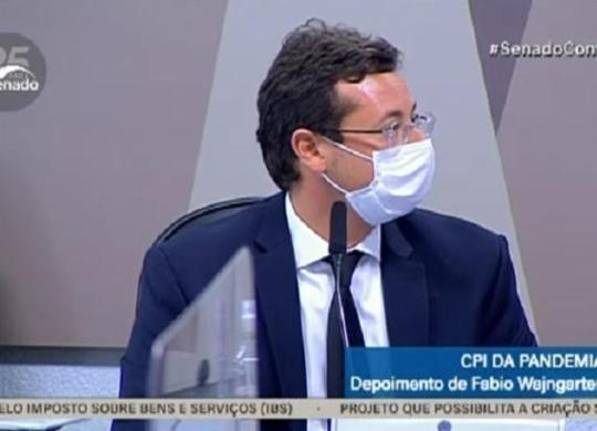 CPI da Covid: Wajngarten afaga Bolsonaro e cita Malafaia e RR Soares como gurus | Reprodução | TV Senado