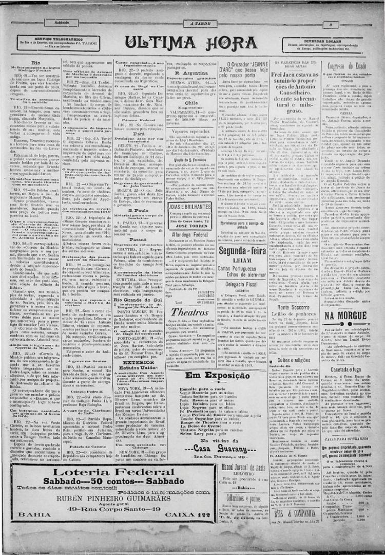 Texto do jornal anuncia a prisão do Frei Antônio Jacu, comparado a Antônio Conselheiro