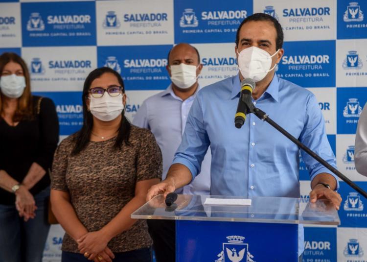 De acordo com prefeito Bruno Reis (DEM), expectativa é de que a vacinação das categorias seja completa ainda nesta semana - Foto: Igor Santos/Secom