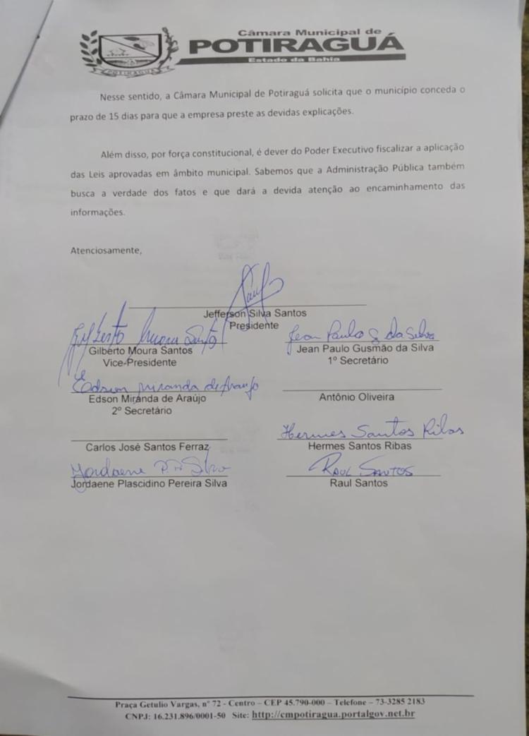 Imagem do documento da Câmara