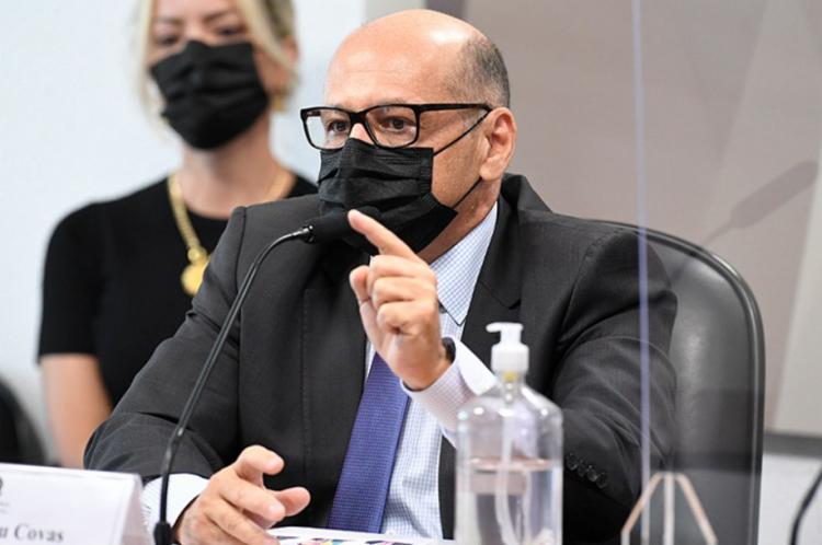 Dimas Covas, diretor do Instituto Butantan , em depoimento à CPI da Covid - Foto: Jefferson Rudy I Agência Brasil