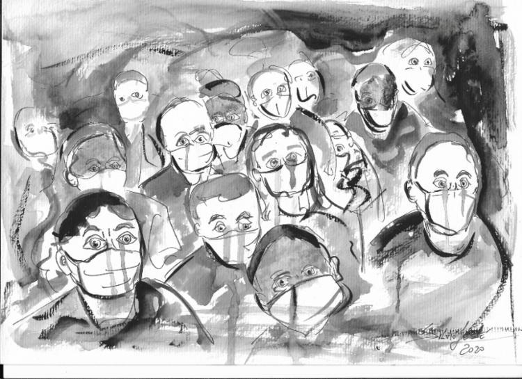 Multidão | Ilustração: Silvio Jessé