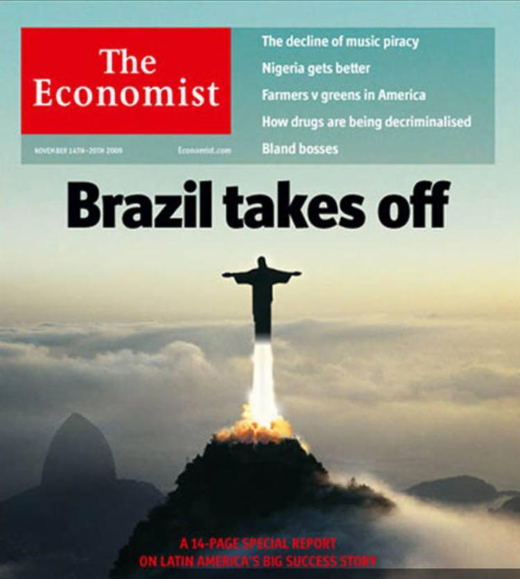 A revista britânica The Economist publicou uma icônica capa com o cristo redentor decolando como um foguete - Foto: Reprodução