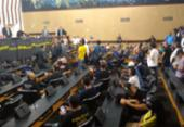 Policiais civis realizam manifestação na Alba contra votação da PEC da Previdência | Foto: Foto: Agência A Tarde