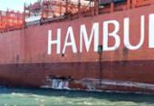 Navio colide com estação de balsas no porto de Santos | Foto: