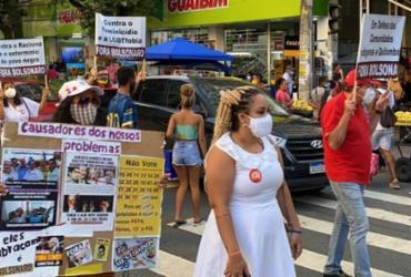 Manifestantes protestaram contra o governo Bolsonaro em Salvador nesta sexta |
