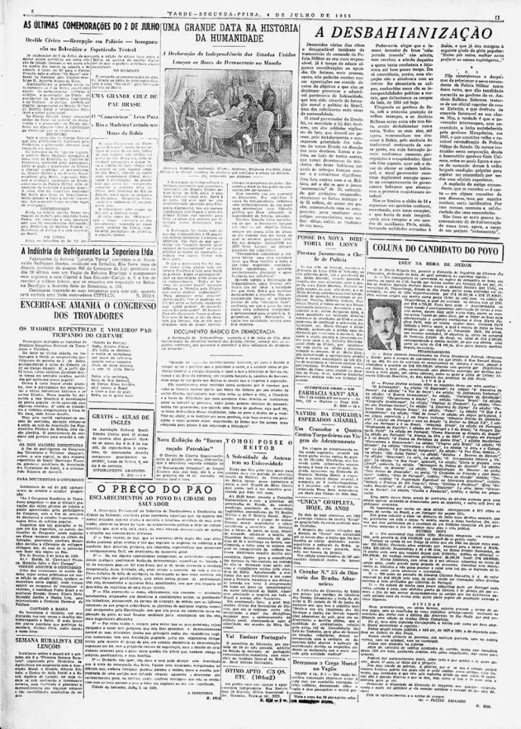 O congresso teve ampla cobertura de A TARDE    4.7.1955