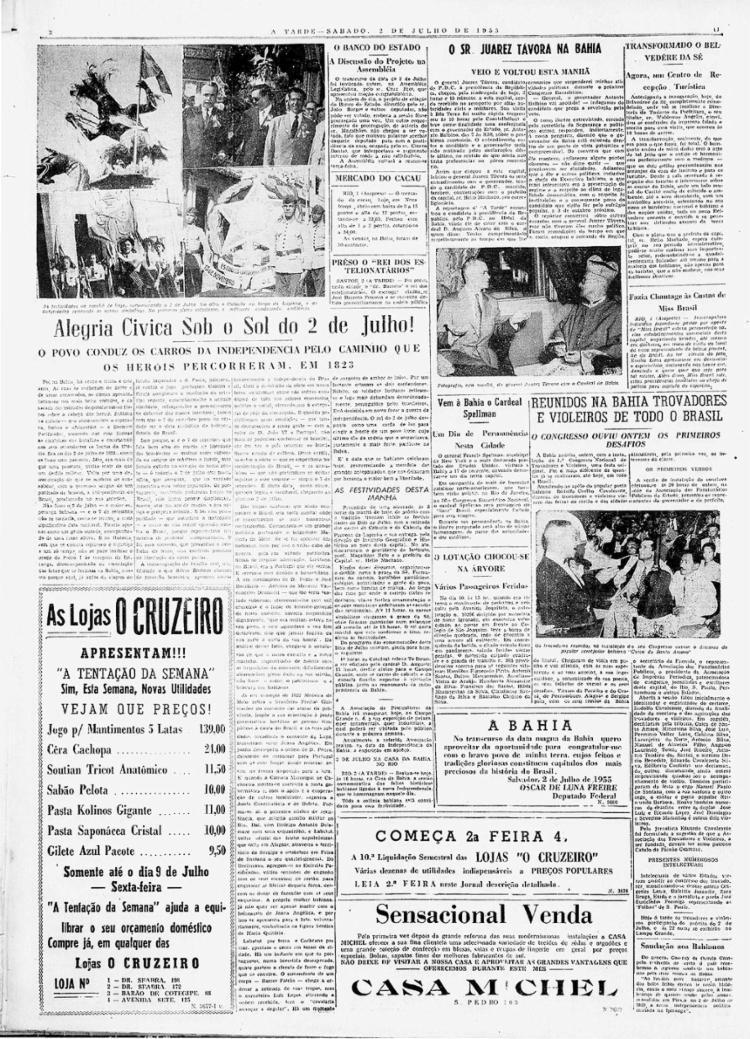 Programação incluiu participação na festa de 2 de Julho    2.7.1955