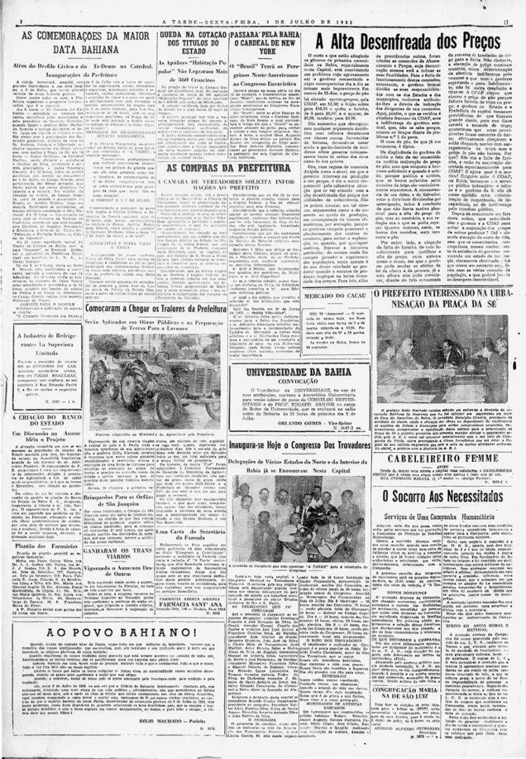 A TARDE noticiou o I Congresso Nacional dos Trovadores e Violeiros    1º.7.1955