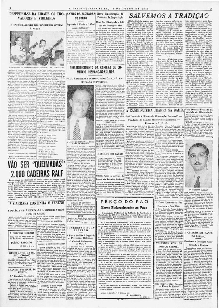 Congresso terminou com ações de valorização   Foto: Arquivo A TARDE   6.7.1955