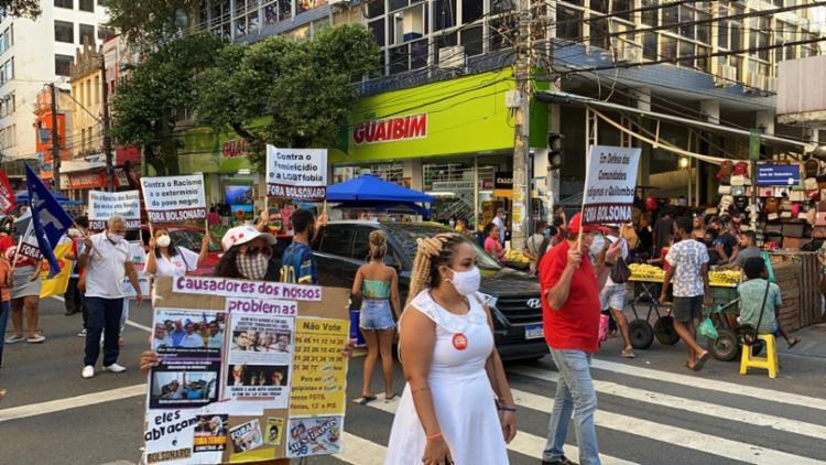 A deputada federal Lídice da Mata (PSB-BA) e a vereadora de Salvador Marta Rodrigues (PT) participaram do protesto | Foto: Divulgação - Foto: Divulgação