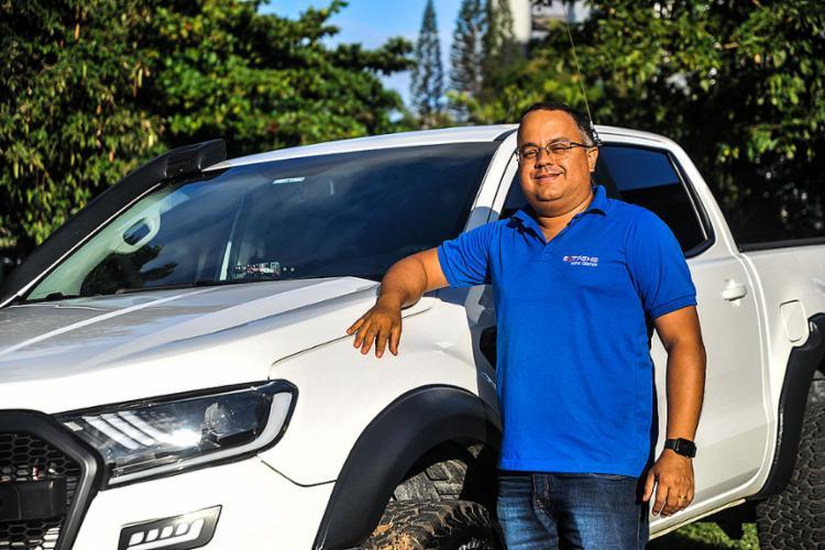Caíque Teixeira ama sua Ford Ranger XLS 2020 | Foto: Felipe Iruatã | Ag. A TARDE - Foto: Felipe Iruatã | Ag. A TARDE