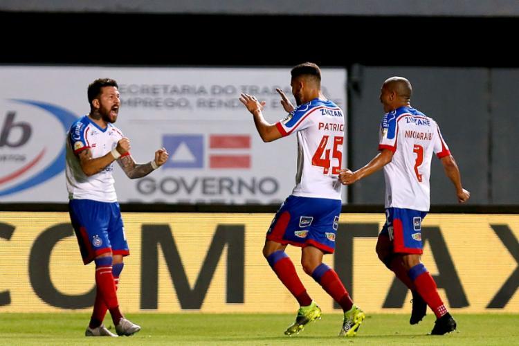 Rossi e Patrick de Lucca deram o triunfo para o Esquadrão na partida | Foto: Felipe Oliveira | EC Bahia - Foto: Felipe Oliveira | EC Bahia
