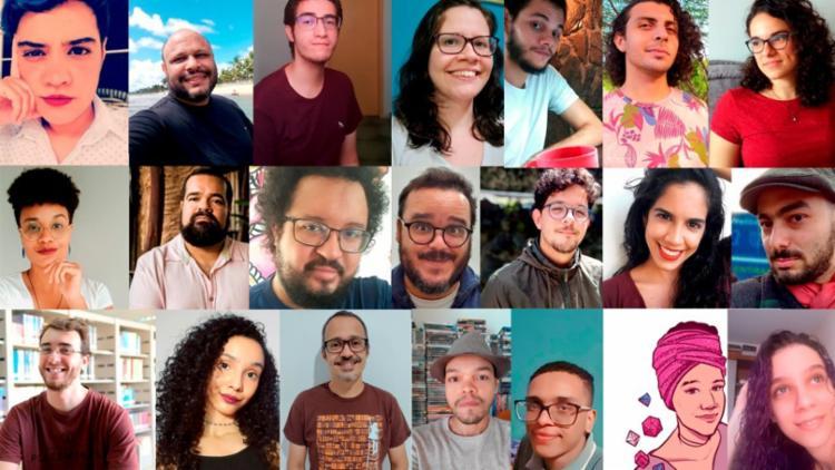 Dezoito autores nordestinos são reunidos para a iniciativa Farras Fantásticas, encabeçadas pelo trio que está exatamente ao centro da imagem acima: Ricardo, Ian e João - Foto: Divulgação