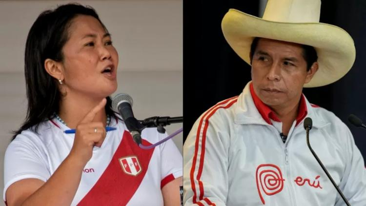 Pedro Castillo Castillo e Keiko Fujimori disputam 2º turno - Foto: Cesar Bazan e Martin Mejia/AFP