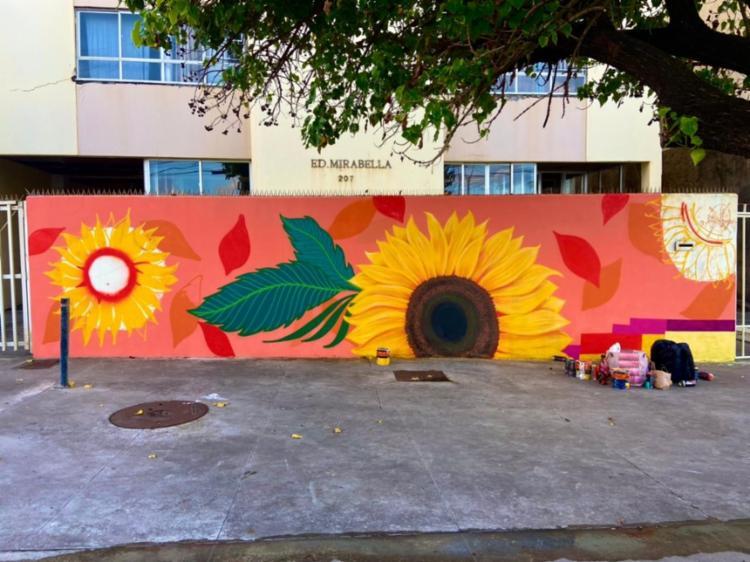 Mural em processo de criação   Foto: Divulgação