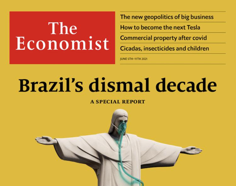 Capa da Economist mostra estátua do Cristo Redentor com oxigênio no nariz - Foto: Reprodução