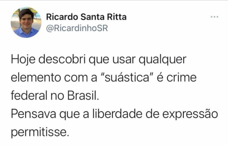 Tuíte do secretário de turismo de Maceió, Ricardo Santa Rita