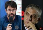 Bellintani e Petraglia batem boca em reunião sobre Liga Brasileira | Foto: Felipe Oliveira | EC Bahia e Divulgação | Athletico-PR
