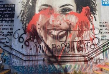 Escadão Marielle Franco em SP é vandalizado com tinta vermelha | Reprodução | Twitter