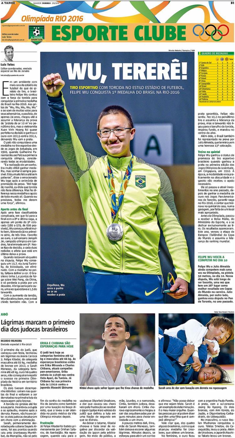 A 1ª medalha brasileira nos jogos de 2016 foi no tiro esportivo    7.8.2016