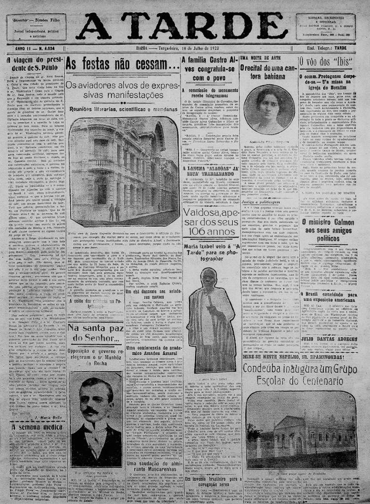 Edição trouxe a história e fotografia de Maria Izabel    10.7.1923