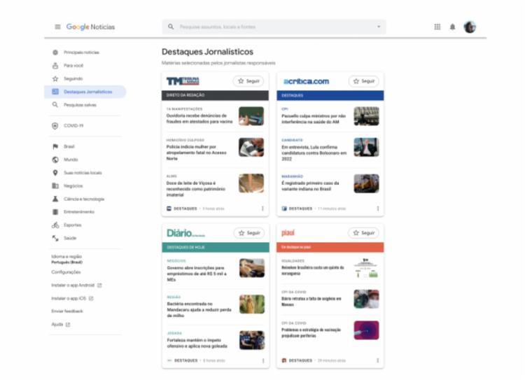 Timeline do Google Destaques acessado pelo desktop   Foto: Reprodução   Google Destaques