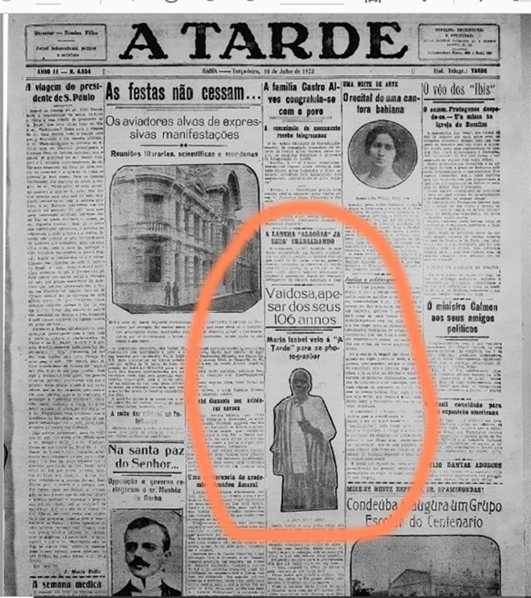 História e fotografia de Maria Izabel foram publicadas na edição de 10 de julho de 1923. Foto: Reprodução | Cedoc A TARDE - Foto: Cedoc A TARDE