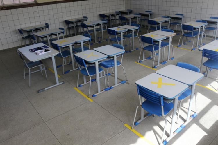 Para garantir a segurança dos estudantes e de toda a comunidade escolar, de acordo com a SEC, diversos procedimentos serão adotados, como distanciamento de 1,5 metro. - Foto: SEC/Claudionor Jr