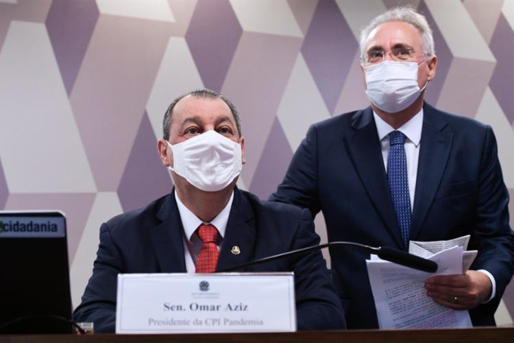 Omar Aziz e Renan Calheiros, presidente e relator da CPI da Covid, têm muito trabalho nos próximos dias - Foto: Divulgação