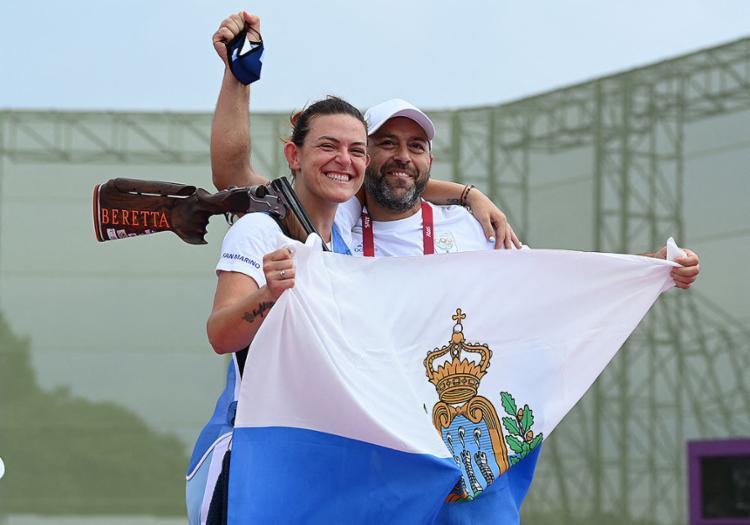 Perilli conseguiu 29 pontos e ficou com o bronze na prova da fossa olímpica | Foto: Tauseef Mustafa | AFP - Foto: Tauseef Mustafa | AFP