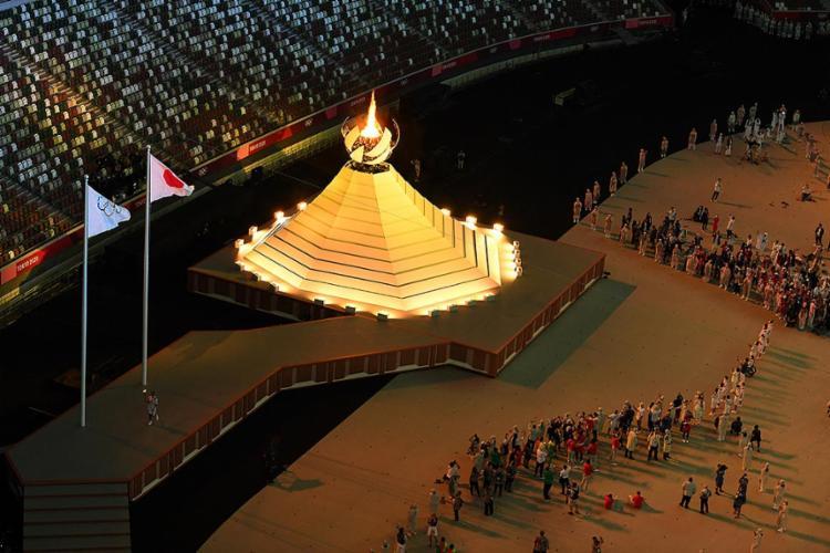 A pira olímpica ficará acessa durante toda a Olimpíada de Tóquio   Foto: François-Xavier Marit   AFP - Foto: François-Xavier Marit   AFP