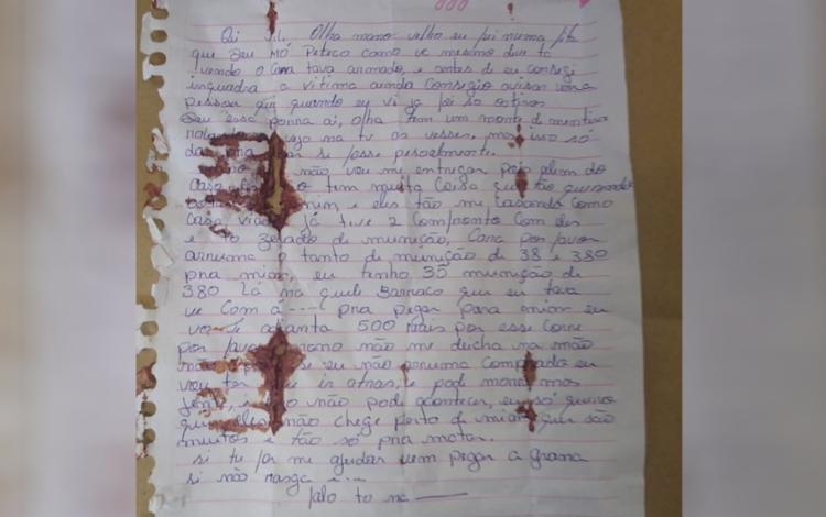 Escrito à mão, o documento foi divulgado nesta segunda-feira, 5   Foto: Divulgação   Secretaria de Segurança Pública de Goiás - Foto: Divulgação   Secretaria de Segurança Pública de Goiás