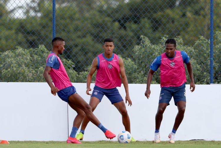 Atacante (à dir.) estreou na atividade com bola no CT | Foto: Felipe Oliveira | EC Bahia - Foto: Felipe Oliveira | EC Bahia