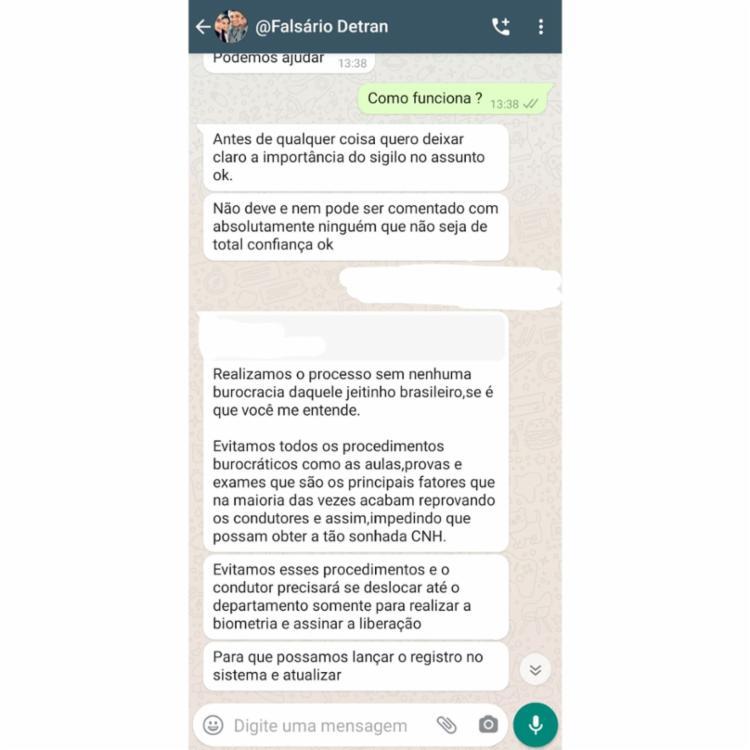 Estelionatário dá detalhes da suposta ação | Reprodução / Whatsapp