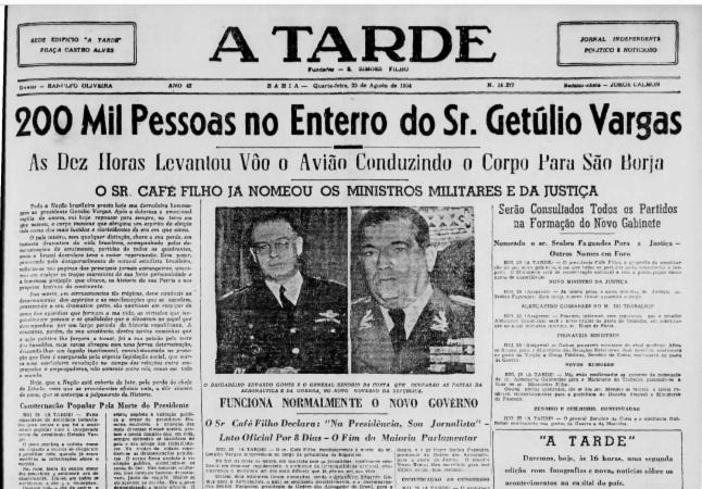 Na edição de 25 de agosto de 1954 A TARDE destacou comoção pela morte de Vargas. Foto: Reprodução Cedoc A TARDE