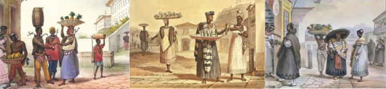 Pinturas de Debret retratando o comércio ambulante do Brasil Colônia   Foto: Jean Baptiste Debret   Reprodução