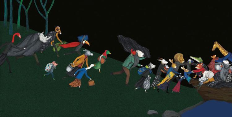 Refugiados correndo na floresta em direção ao barco   Ilustração: Issa Watanabe - Foto: Issa Watanabe