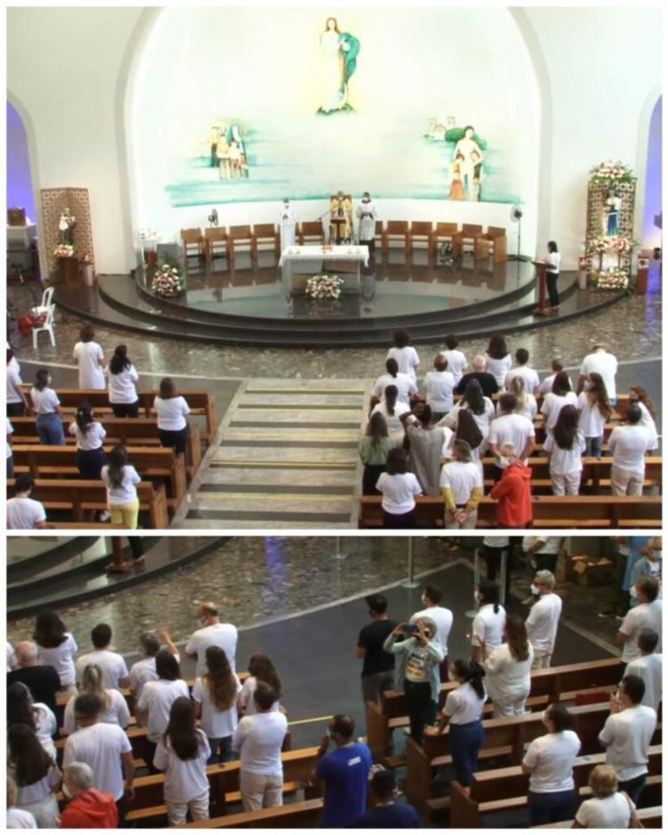 Missa em homenagem aos 03 meses de morte do ator Paulo Gustavo está ocorrendo no Santuário Santa Dulce dos Pobres, em Salvador. - Foto: Reprodução|