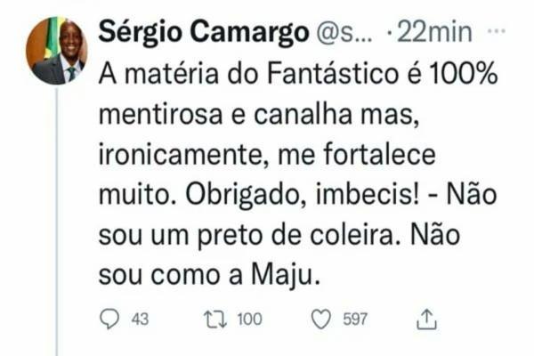 Postagem de Sérgio Camargo foi apagada minutos depois   Foto: Reprodução   Twitter