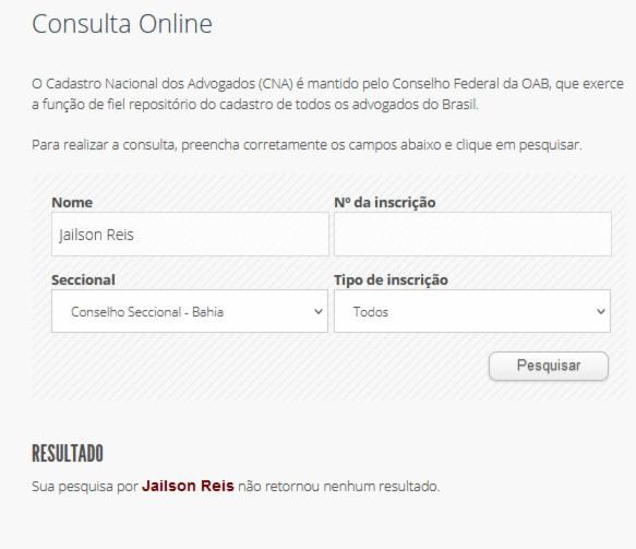 Pesquisa do nome Jailson Reis no site da OAB