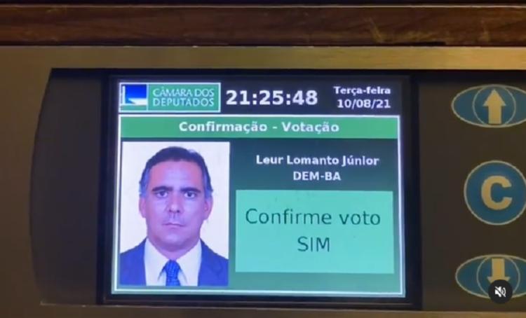 Deputado Leur Lomanto Jr. votou a favor da pauta bolsonarista | Foto: Reprodução / Instagram - Foto: Reprodução / Instagram