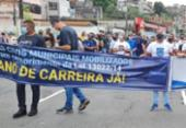 Guardas municipais voltam a se manifestar e travam trânsito na San Martin | Foto: Reprodução | TV Bahia