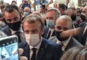 Manifestante atira ovo no presidente da França   Reprodução/ Twitter