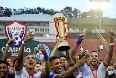 Tricolor venceu o jogo de ida por 4 a 2 e assegurou o empate e 1 a 1, no Barradão   Foto: Felipe Oliveira   EC Bahia - Felipe Oliveira   EC Bahia