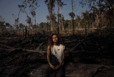 "O cantor participou da marcha contra o Marco Temporal e o projeto ""Amazônia em Chamas""   Foto: Victor Moriyama - Victor Moriyama"